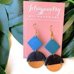 Handmade Clay Earring Turquoise and Gold